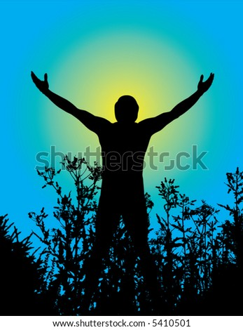 Silhouette of a man with arms lifted up to the sky