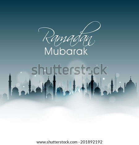 Silhouette of a mosque in night background for holy month of Muslim community Ramadan Mubarak celebrations.  - stock vector