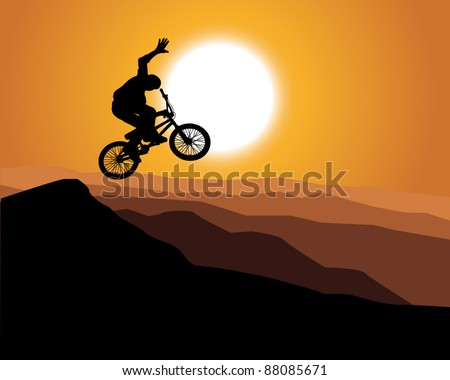 silhouette of a mountain bike with sunset background - stock vector