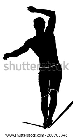 Silhouette of a muscle highliner walking on the tightrope - stock vector
