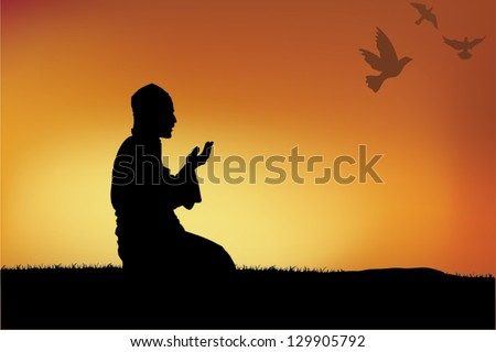 Silhouette of a Muslim praying during sunset. - stock vector