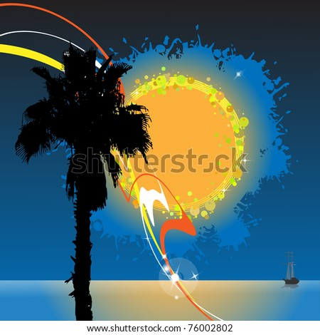 Silhouette of a palm tree against the sea and the evening sky with the abstract sun - stock vector