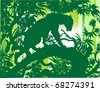 Silhouette of a panther standing on a tree branch - stock vector