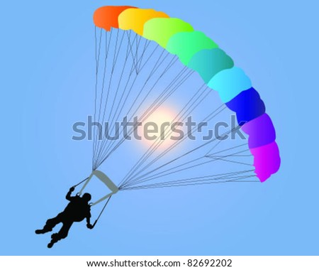 silhouette of a para-glider with a colorful parachute-vector - stock vector