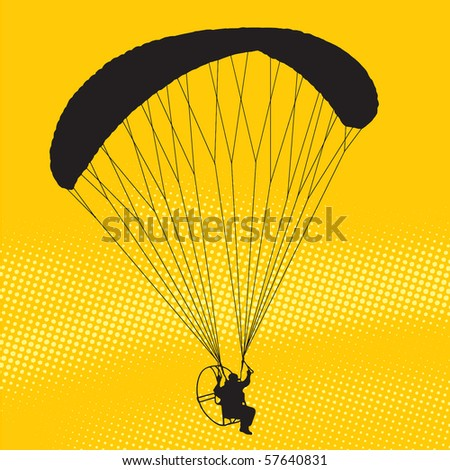Silhouette of a parachutist at sunset - stock vector