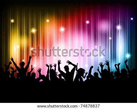 Silhouette of a party crowd against a disco lights background - stock vector