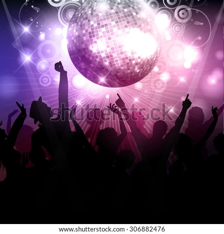 Silhouette of a party crowd on a disco ball background - stock vector