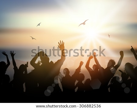 Silhouette of a party crowd on a summer background - stock vector