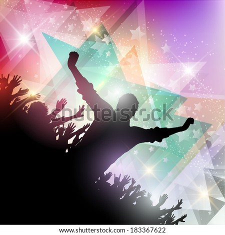 Silhouette of a party crowd on an abstract background - stock vector