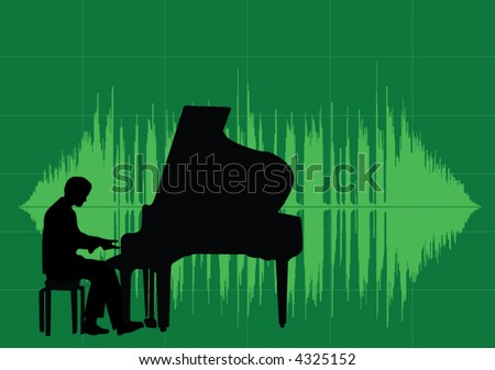 Silhouette of a piano player with soundwave graphic in the background. Lot of space left.