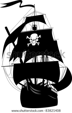 silhouette of a pirate ship with the image of a skeleton on the sail; - stock vector