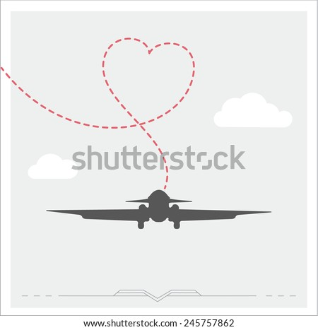 Silhouette of a plane with heart, romantic poster - stock vector