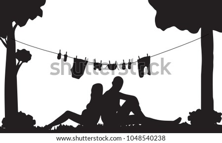 Silhouette Pregnant Couple Baby Clothes Stock Vector 1048540238