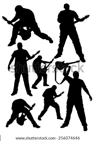 silhouette of a rock musician with a guitar - stock vector