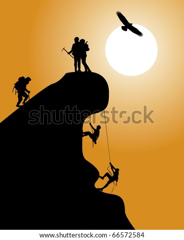 Silhouette of a rock with climbers on an orange background - stock vector