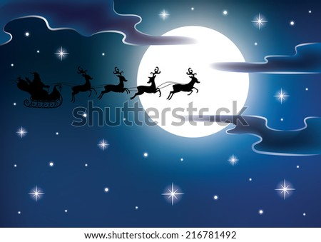 Silhouette of a Santa on a flying sledge harnessed by magic deers. Full moon and stars on the background. - stock vector
