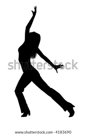 Silhouette of a sexy female dancer in an ecstatic pose. Vector image. - stock vector