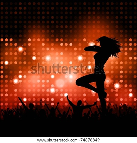 Silhouette of a sexy female with a party crowd - stock vector
