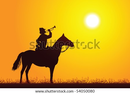 Silhouette of a soldier on horseback - stock vector
