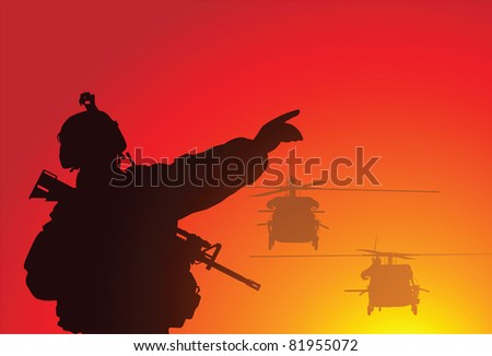 Silhouette of a soldier with helicopters - stock vector