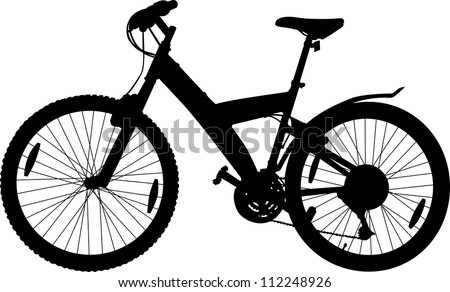 Silhouette of a sport bicycle on a white background