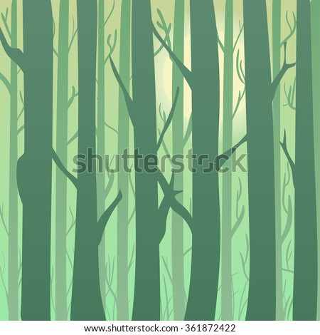 Silhouette of a spring and summer forest at sunrise, light green trees in the background. Background for greeting card and invitations. - stock vector
