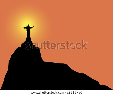Silhouette of a statue to Jesus Christ in Rio de Janeiro Brazil on an orange background - stock vector