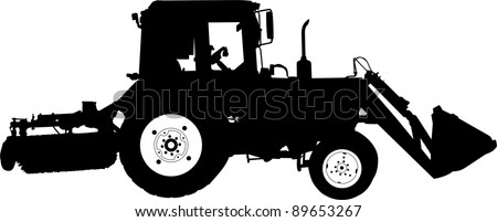 Silhouette of a tractor of road service - stock vector