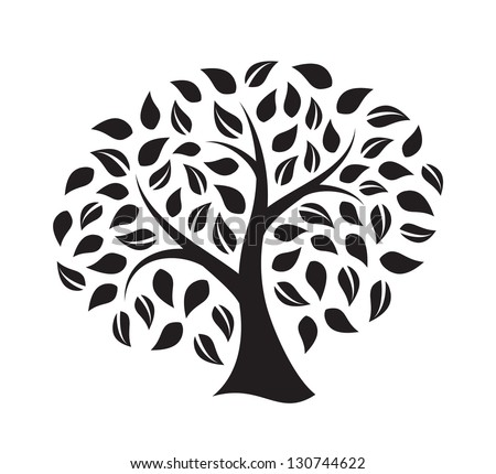 Silhouette of a tree isolated on white background - stock vector