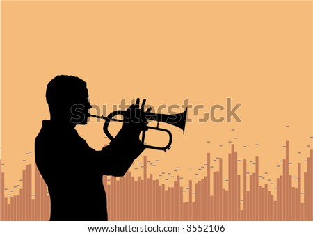 Silhouette of a trumpet player with soundwave graphic in the background. Lot of space left. - stock vector