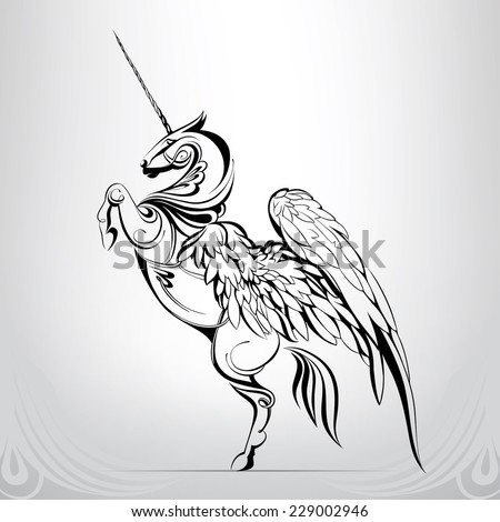Silhouette of a unicorn in the ornament - stock vector