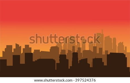 Silhouette of a very beautiful city