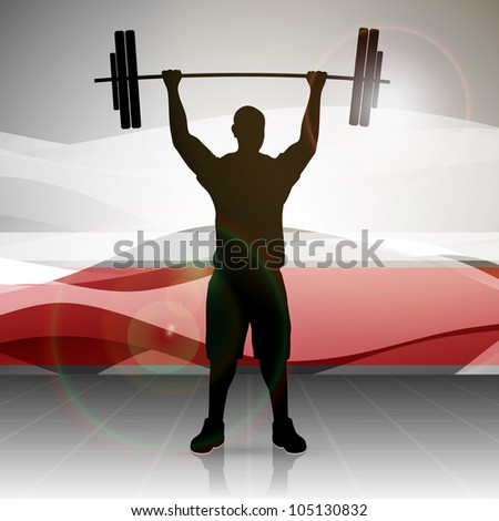 Silhouette of a weight lifter with heavy weight on abstract red wave background. EPS 10. - stock vector
