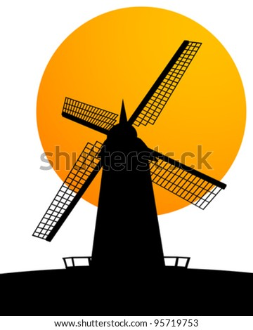 Silhouette of a windmill over a sunny background. - stock vector