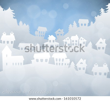 Silhouette of a winter landscape with houses and mountains - stock vector