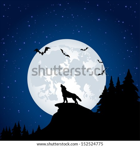 Silhouette of a wolf on Moon background, illustration