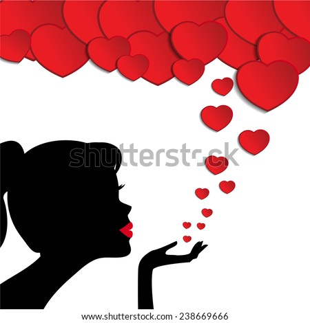 Silhouette of a woman blowing hearts - stock vector