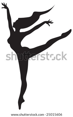 Silhouette of a woman, dancing ballet with wind in her hair.