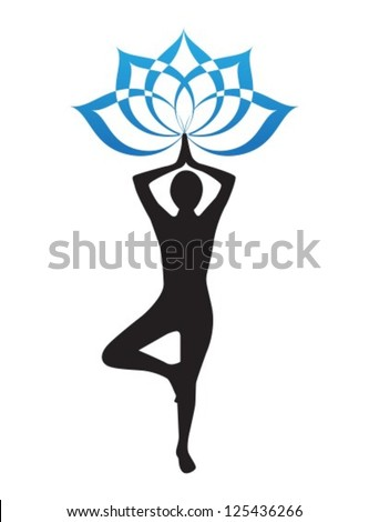 silhouette of a woman is doing yoga and lotus flower - stock vector