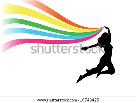 Silhouette of a woman jumping with the rainbow - stock vector