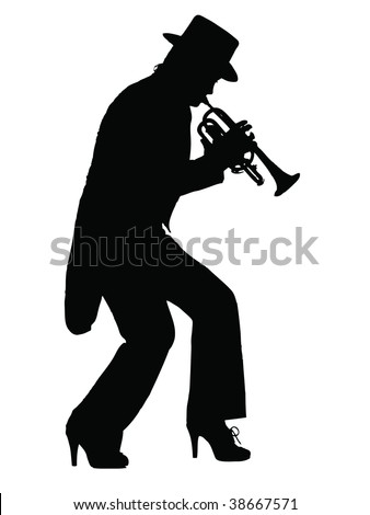 Silhouette of a woman playing the blues on a trumpet - stock vector