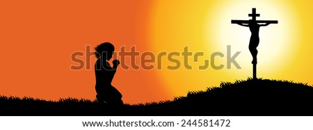 Silhouette of a woman praying under the cross-time line cover-Vector illustration  - stock vector