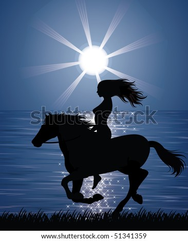 Silhouette of a woman riding a horse on the shore.
