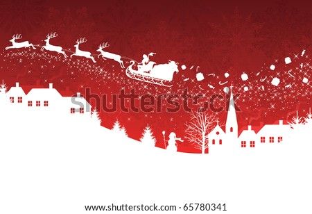 Silhouette of a woman santa on a sledge harnessed by magic deers flying over a village with gifts flying off on the red  background.