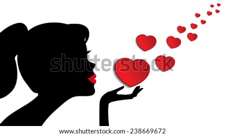 Silhouette of a woman sending love - stock vector