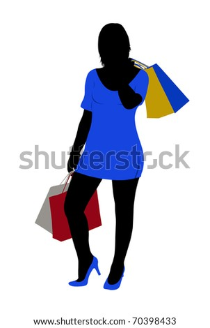 silhouette of a woman shopping