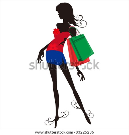 silhouette of a woman. shopping