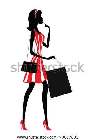 silhouette of a woman. shopping, retro style