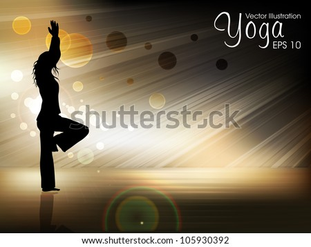 Silhouette of a women in yoga posture on evening background. EPS 10. - stock vector