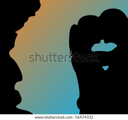 Silhouette of a young couple - stock vector
